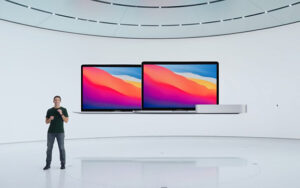 """Apple's """"One More Thing"""" turned out to be the company's new M1 chip, which powers new models of the MacBook Air, 13-inch MacBook Pro, and Mac mini to new heights of performance and battery life. Learn more.   AustnMacWorks.com"""